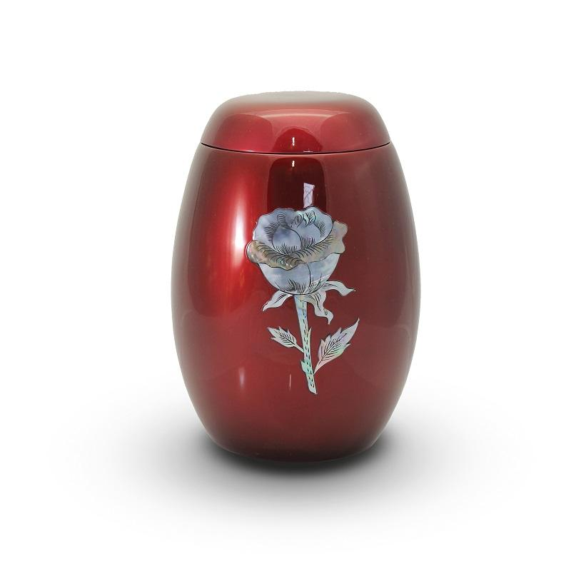 Glass Fibre Urn (Burgundy with Rose Design