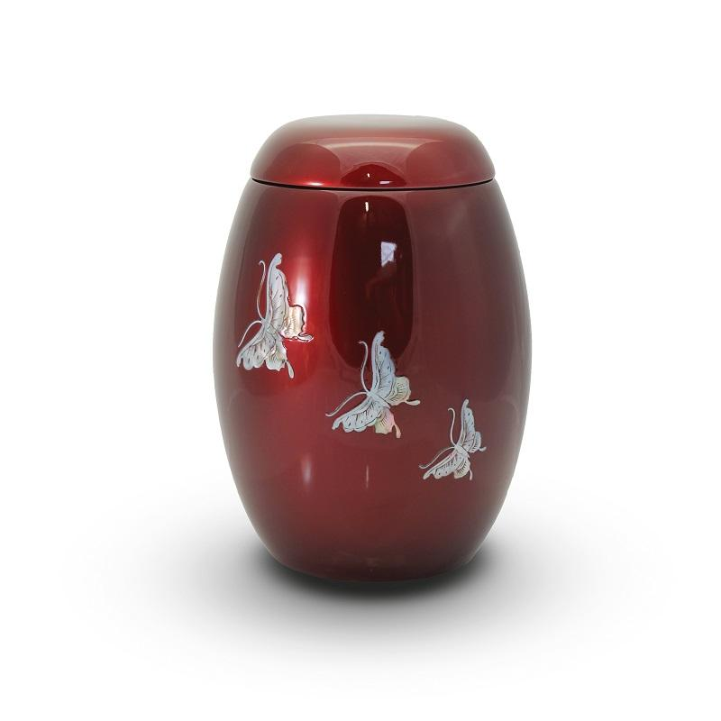 Glass Fibre Urn Burgundy with Butterfly Design