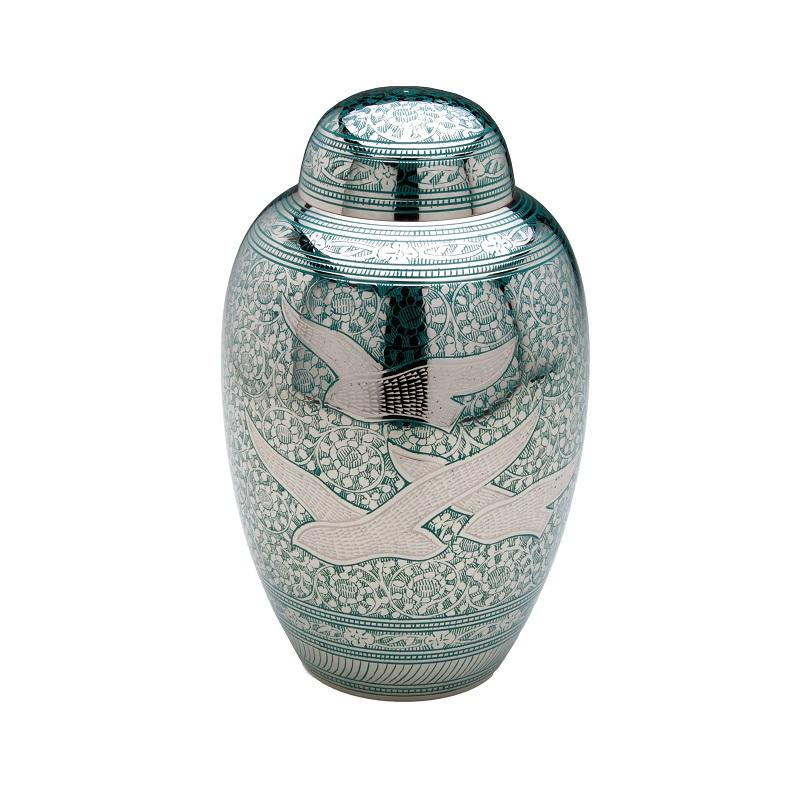 Brass Urn (Silver and Green with Flying Birds Design