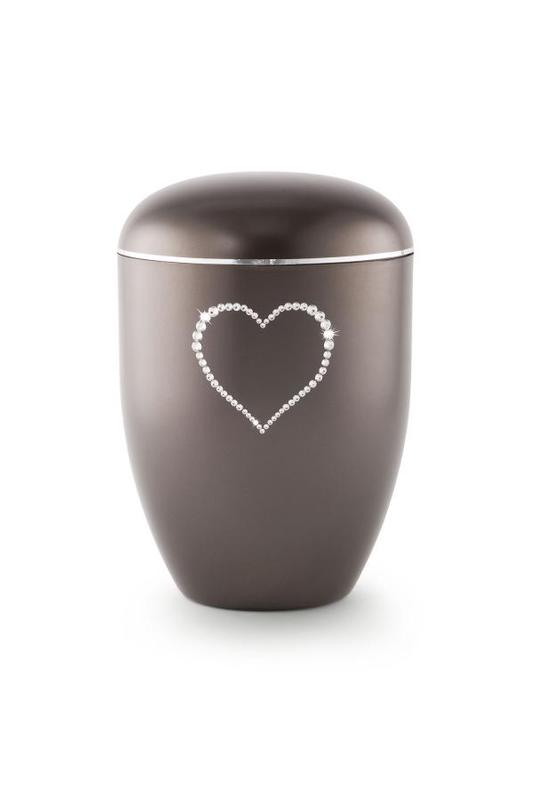 Biodegradable Swarovski Heart Urn Chocolate