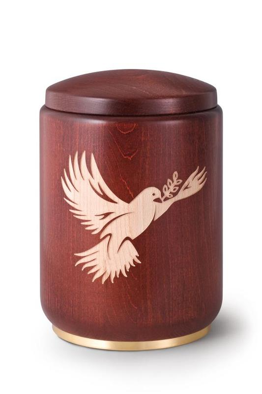 Wooden Urn Stained Mahogany with Dove Engraving